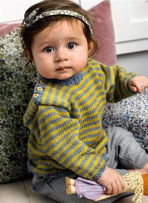 Stribet baby sweater - kit