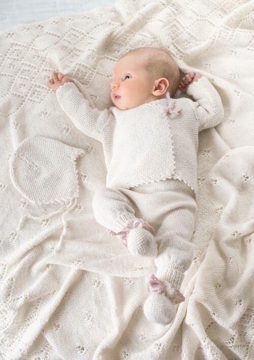 Omslagsjakke baby perlestrik præmatur